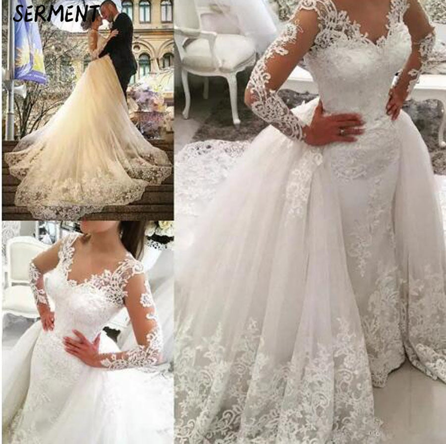 Wedding 2019 New Sexy Fishtail Wedding Dress Shoulder V-neck Water Soluble Lace Wedding Dress Tail Wedding Dress