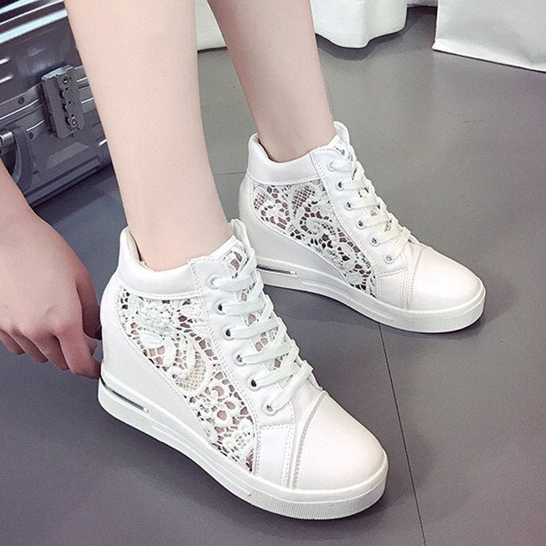 Lace Wedge with Hollow Breathable Womens Shoes Casual Lace Mesh Shoes Platform Sneakers  Tenis Feminino  Zapatos De Mujer