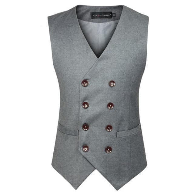 Fashion Double Breasted Suit Vest Men 2018 New Brand Sleeveless Waistcoat Mens Slim Fit Wedding Party Business Vests Gilet Homme