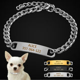 Personalized Cat Dog Chain Collar Customized Engraved Pet Collars Small Dogs Cats Necklace NamePlate Chihuahua Yorkshire