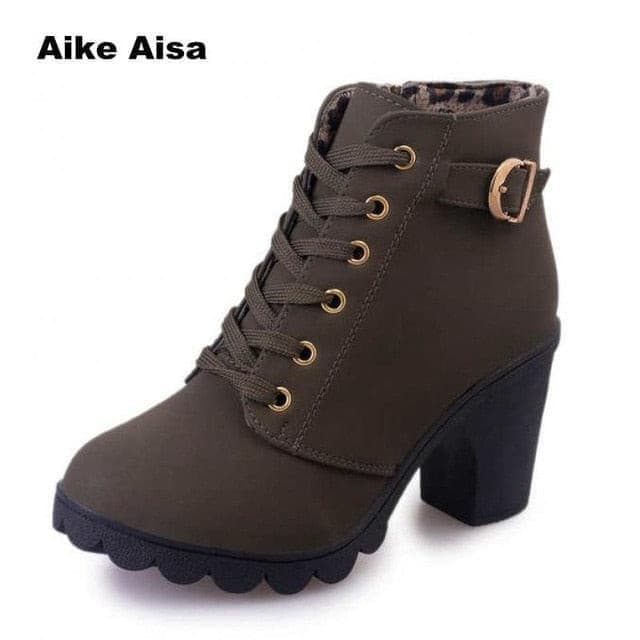 Plus Size 35-43 Winter Casual Women Pumps Warm Ankle Boots Waterproof High Heels Snow Martin Shoes Botas  Patent  Botas Muje A05