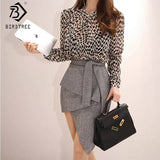 Spring New Women Sets Leopard Top High Waist A-Line Irregular Lace Up Bow Skirts Elegant Office