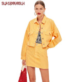 RAISEVERN Autumn 2 Piece Set Women Casual ButtonYellow Jacket Coat & Mini Skirt Set 2018 Fashion Clothes Ladies Two piece Set