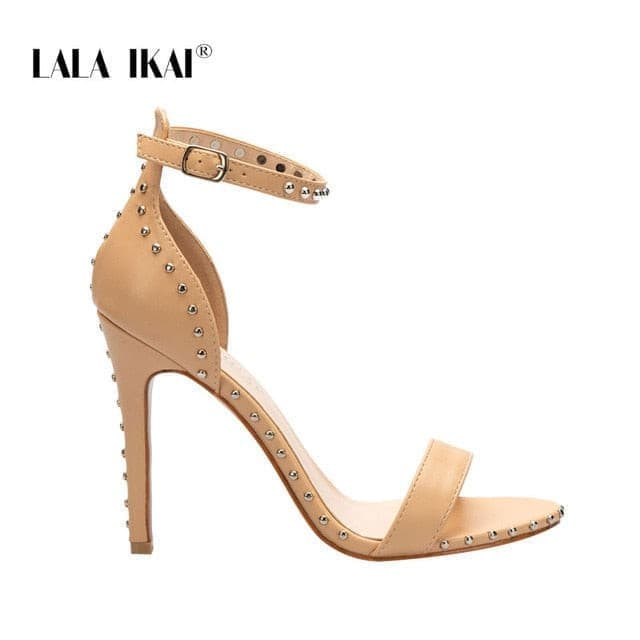 LALA IKAI Women Sandals High Heels Summer Thin Heel PU Leather Rivet Peep Toe Sexy Party Shoes Sandalia Feminina 014C1845-45