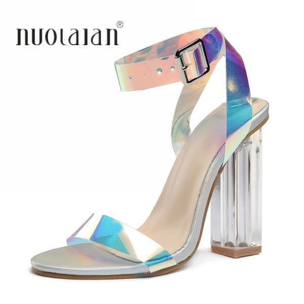 2019 Summer PVC Clear Transparent Strappy High Heels Shoes Women Sandals Peep Toe Sexy Party Female