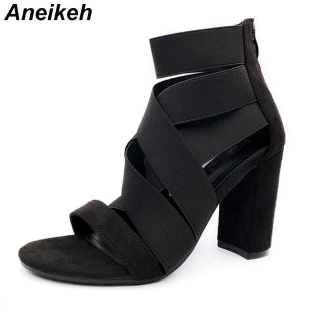 Aneikeh 2019 NEW Gladiator Sandals Boots Fashion Women High Heels