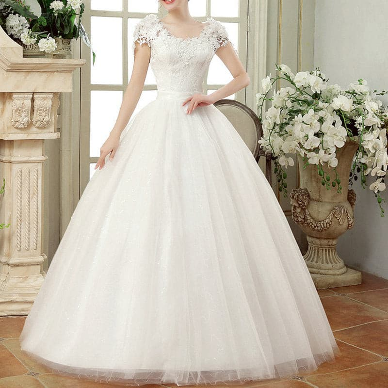 Vintage Lace Wedding Dresses Cap Sleeves Long Train Ball Gowns for Wedding Vestidos Cerimonia 2019 Vestido De Noiva Princesa