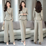 Spring Goddess 2 Piece Set Women Office Lady Ensemble Femme Survetement OL Conjunto Feminino Elegant Palazzo Pants Woman Suit