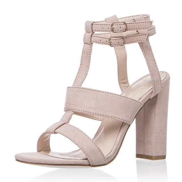 High Heels Sandals Gladiator Summer Sandals For Women Double Buckle Square Heel Flock Female Sexy Block Heels Hot Women Shoes 43