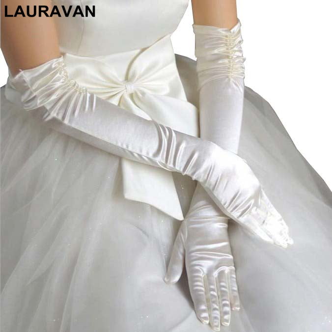 Pair Bride Bridal Wedding Gloves Red Black White Ivory Long Beaded Satin Elegant for Women Finger
