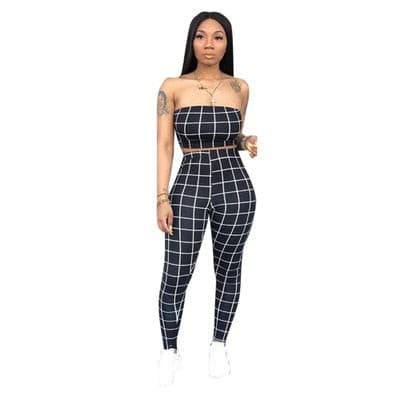 women sexy Sleeveless Two Pieces Set casual  Printed Plaid pencil Summer skinny pants tracksuit