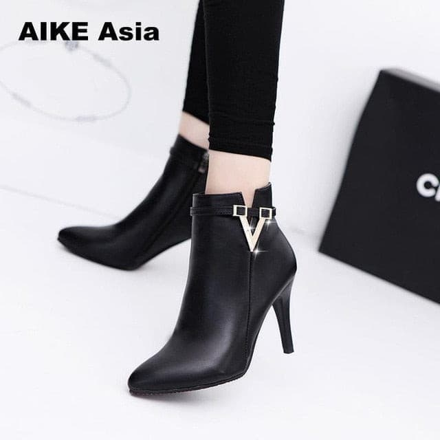 Thin High Heels Pointed Toe Faux Leather Zipper Style Sexy Ankle Womens Boots Bota