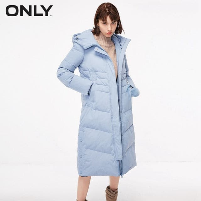 ONLY  Women's Hooded Pompon Overknee Down Jacket |118412501