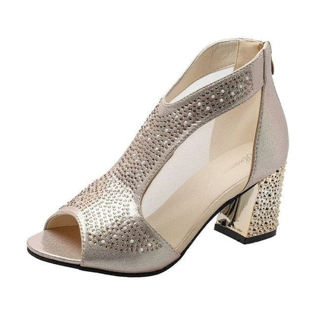 Fashion 2019 Women Sandals Bling mid Heel Diamond Summer Square Heel casual Women Shoes Wedding Shoes women zapatos Mujer **474