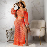 Fashion Sexy Women's Casual Openwork Handmade Tassel Word Shoulder Sleeveless Beach Dress Set Plus Size Sets 2 Piece Set Women