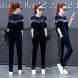 Gold velvet women's round neck stitching two sets of spring and autumn new casual fashion sportswear suit female
