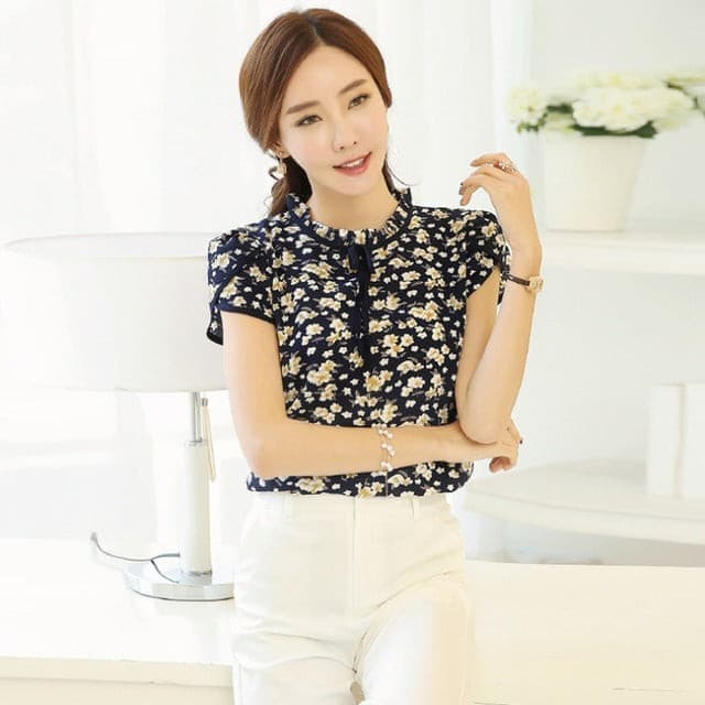 ROPALIA Chiffon Bowknot Summer OL floral Blouses Women blusas Short Sleeve O-Neck Tops feminine blouses korean fashion clothing