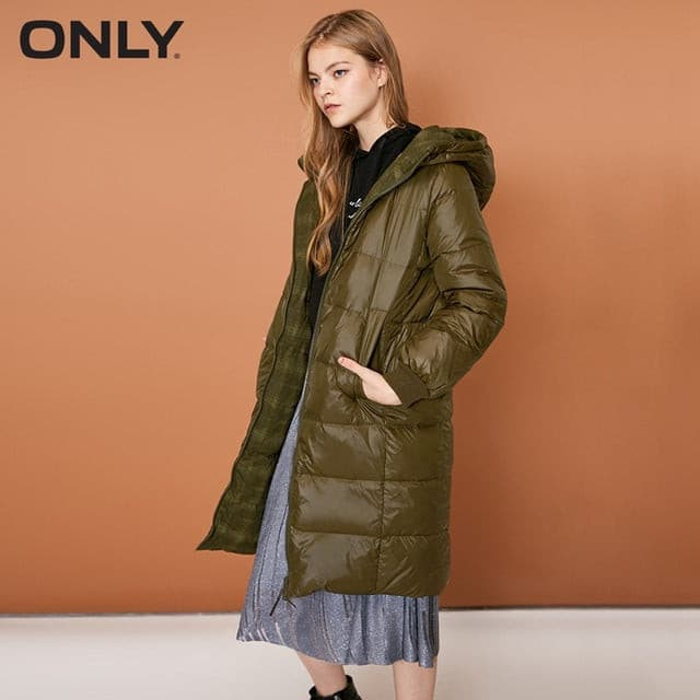 ONLY  Women's Reversible Zip Long Hooded White Duck Down Jacket |118312553