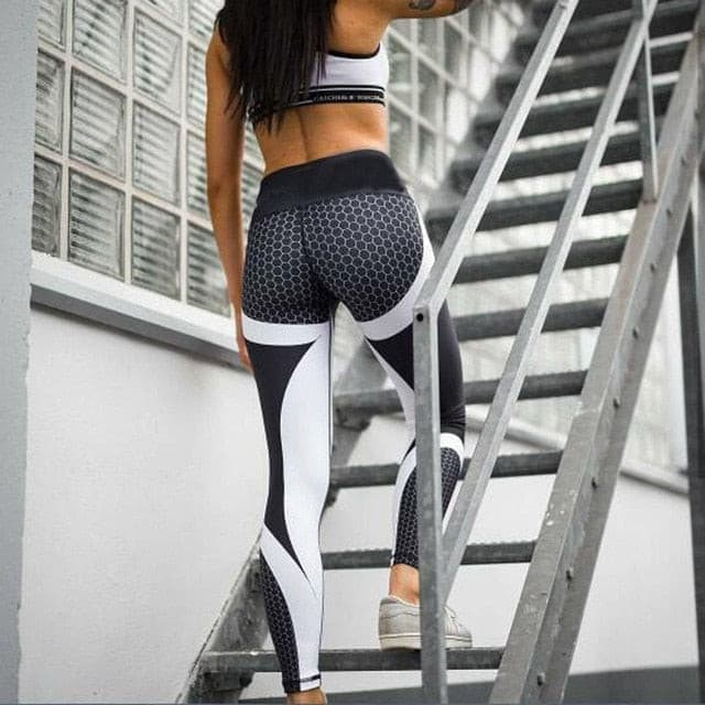 New Honeycomb Letter Printed Women Fitness Leggings Skinny High Waist Elastic Push Up Legging