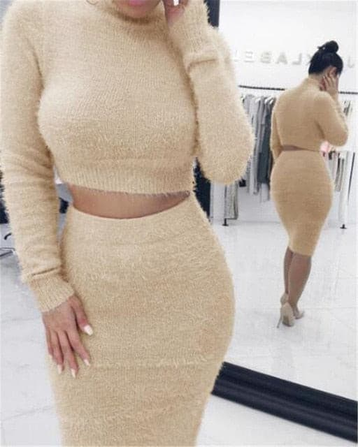 Sweat Suits for Women Autumn Winter Two Piece Long Sleeve O-Neck Solid Color Short Top and Skirt Soft Comfortable Sweater Sets