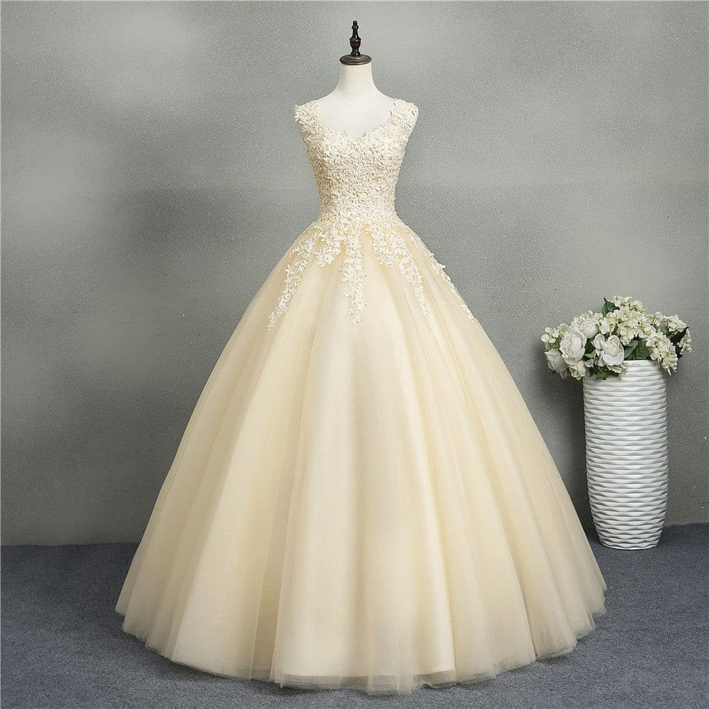 ZJ8076 Ball Gowns Sweetheart White Ivory Tulle Champagne Wedding Dresses 2019 with Pearls Bridal Dress Plus Size 2-26W