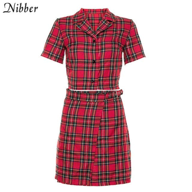 Nibber Retro Red check print tops blouse womens skirts 2two pieces sets spring summer office ladies wild casual teeshirts skirts