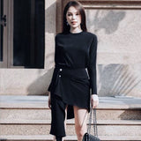European 2019 Spring Women Tops O-neck Slim Bodycon Elelgant OL Two Piece Set Women Clothing Irregular Sexy Mini Skirt QH009