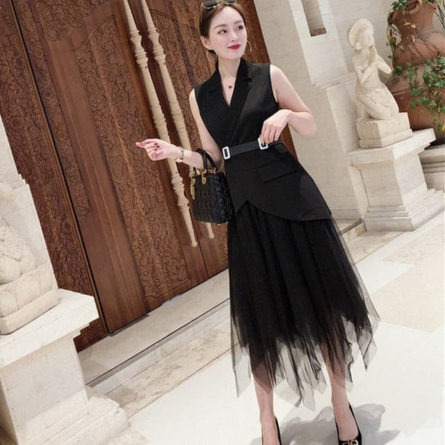 Solid Irregular Two Piece Set Women Lapel Off Shoulder Sleeve Slim