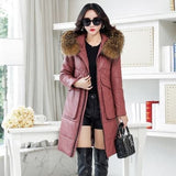 2018 New Leather Down Jacket Women Long Parka Winter Fashion Sheep Leather Slim Big pocket Raccoon fur collar Feminino Outerwear