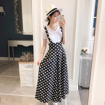 2019 Summer New Women's Clothes Set Korea White Knit Short Sleeve T-Shirt Tops Long Strap Wide Leg