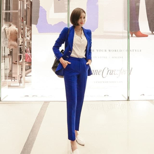 Fashion blue Uniform Designs Pantsuits With Jackets And Pants For Office Ladies Blazers Pants