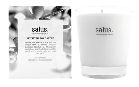 SALUS PATCHOULI SOY CANDLE BOXED 50HRS  -