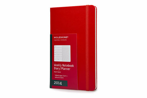 Moleskine 2014 Planner 12 Month Weekly Red Hard Cover Large