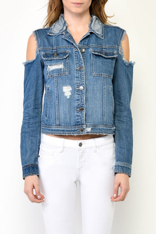 Cutaway Denim Jacket by Hidden Jeans - Thought Process Boutique | Jean Jacket by Hidden Jeans
