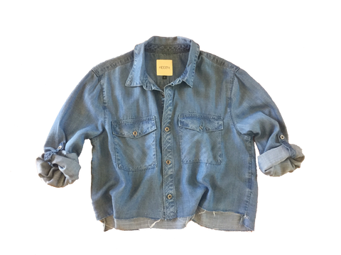 Cropped Denim Shirt by Hidden Jeans - Thought Process Boutique | Jean Shirt by Hidden Jeans
