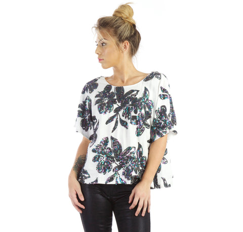 All In Floral Sequins Top - Thought Process Boutique - 1
