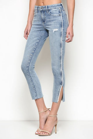 White Side Piping Denim by Hidden Jeans side | Thought Process Boutique