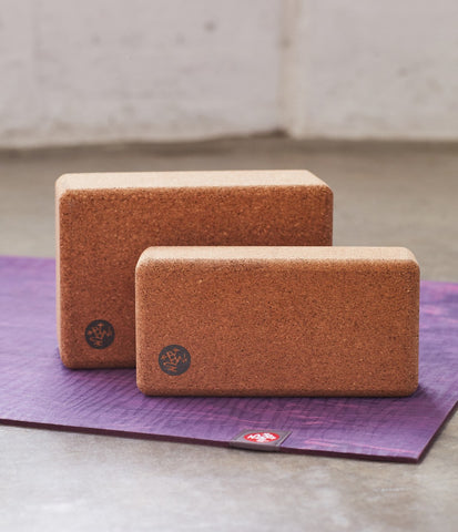 Manduka Cork Block & Lean Cork Block size comparison - blocks sitting on an eKO yoga mat - Manduka | Eco Yoga Store