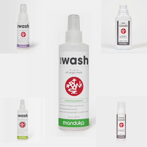 Manduka Mat Wash Collection - All Purpose, Rubber & GRP yoga mat cleaner bottles | Eco Yoga Store