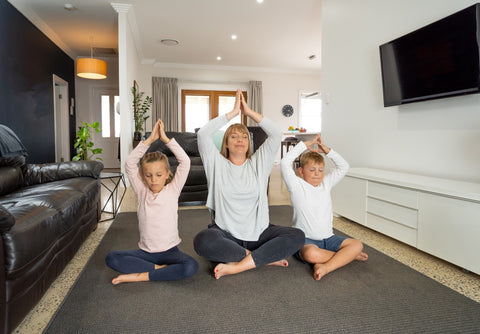 Family Yoga - Mum, Daughter, Son, meditating at home | Eco Yoga Store