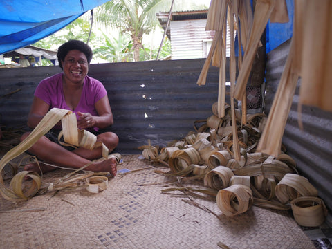 Fijian weaver at home working on a pandanus plant mat - Tali Tali | Eco Yoga Store