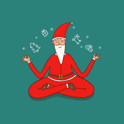 Santa Clause sitting in a meditation pose | Eco Yoga Store