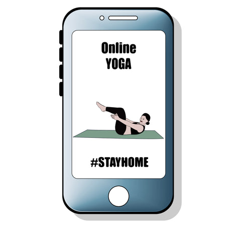 Drawing of mobile phone screen with online yoga app | Eco Yoga Store