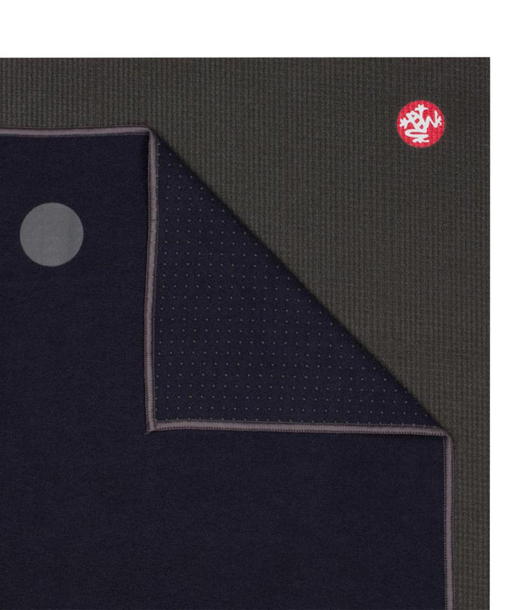 Manduka Yogitoes Mat Towel - Midnight - lying flat, corner folded over | Eco Yoga Store