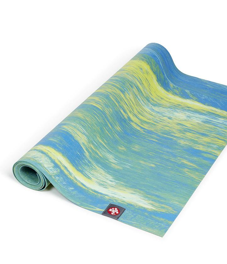 Manduka eKO Superlite 1.5mm Yoga Mat - Digi Lime Marbled - part rolled | Eco Yoga Store