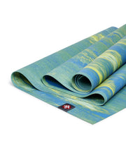Manduka eKO Superlite 1.5mm Yoga Mat - Digi Lime Marbled - folded | Eco Yoga Store