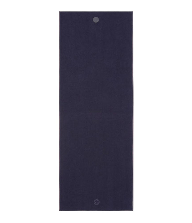 Manduka Yogitoes Mat Towel - Midnight - lying flat | Eco Yoga Store