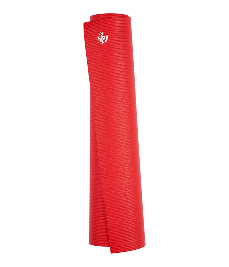Manduka PRO 6mm Yoga Mat - Manduka Red - rolled vertical | Eco Yoga Store