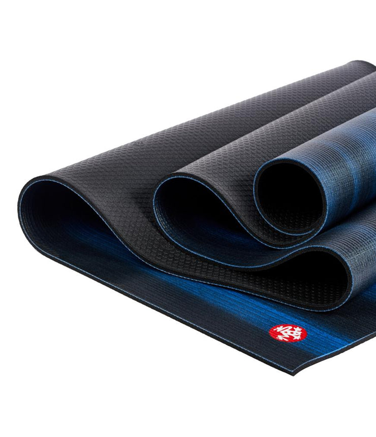 Manduka PRO 6mm Yoga Mat - Blue Black Colour Fields - folded | Eco Yoga Store