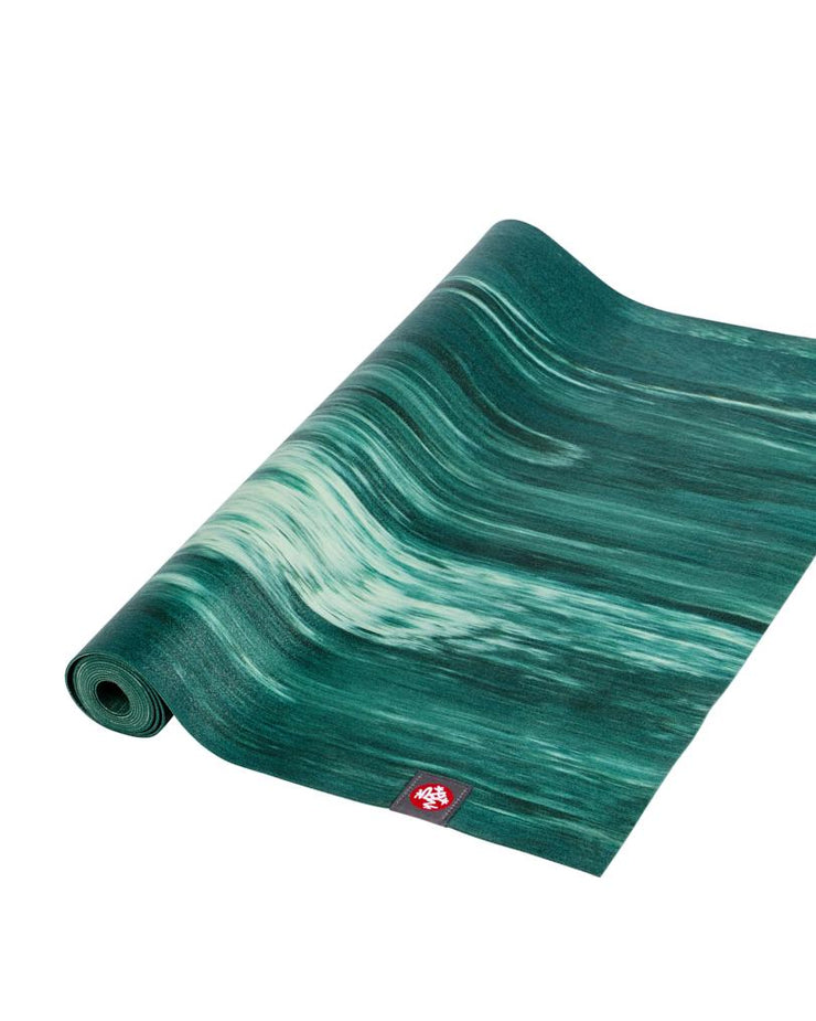 Manduka eKO Superlite 1.5mm Yoga Mat - Deep Forest Marbled - part rolled | Eco Yoga Store